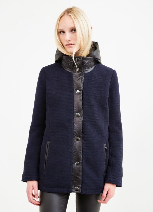 Wool blend coat with hood | OVS