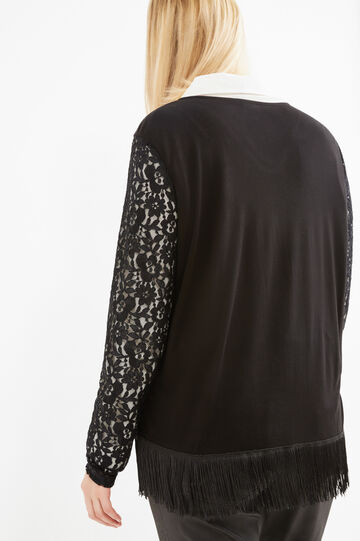Curvy T-shirt with lace and fringe, Black, hi-res