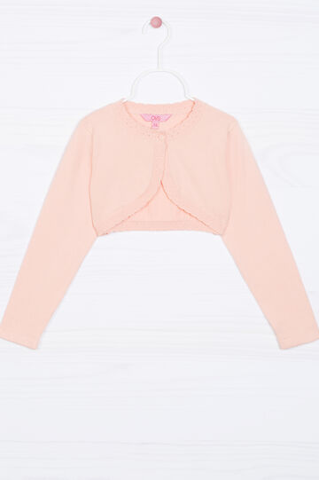 Stretch shrug with flounces, Peach Orange, hi-res