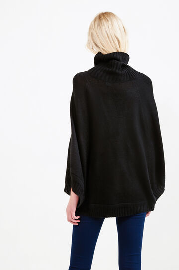 Ribbed knitted poncho, Black, hi-res