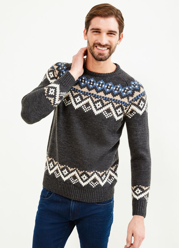 Knitted wool pullover with geometric embroidery | OVS