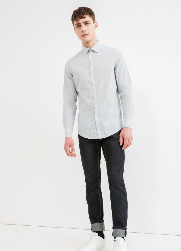 Camicia casual slim fit stampata cotone | OVS