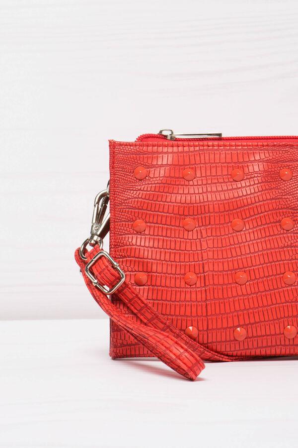 Snakeskin clutch bag with studs | OVS