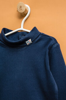 100% cotton bodysuit with long sleeves, Navy Blue, hi-res
