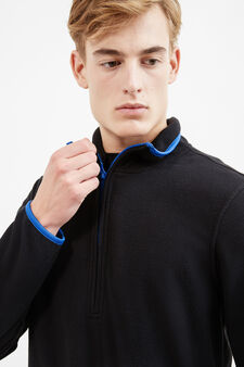 Fleece sweatshirt with high neck, Black, hi-res