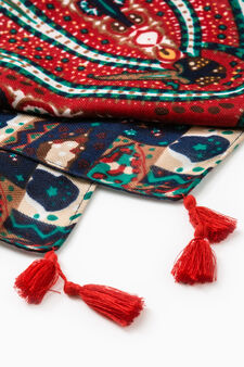 Paisley pattern keffiyeh with tassels, Multicolour, hi-res