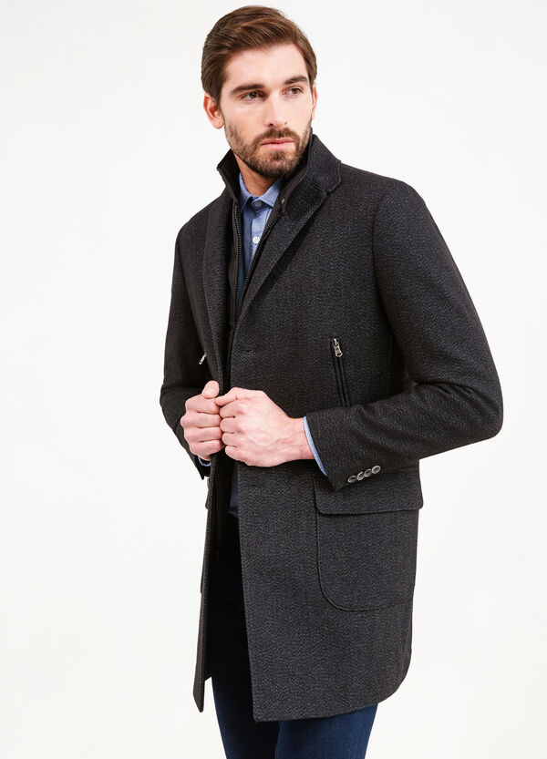 Wool blend coat with lapels | OVS