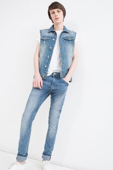 Faded denim waistcoat with pockets, Denim, hi-res