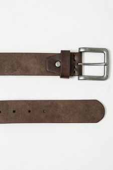 Solid colour belt with square buckle, Dark Brown, hi-res