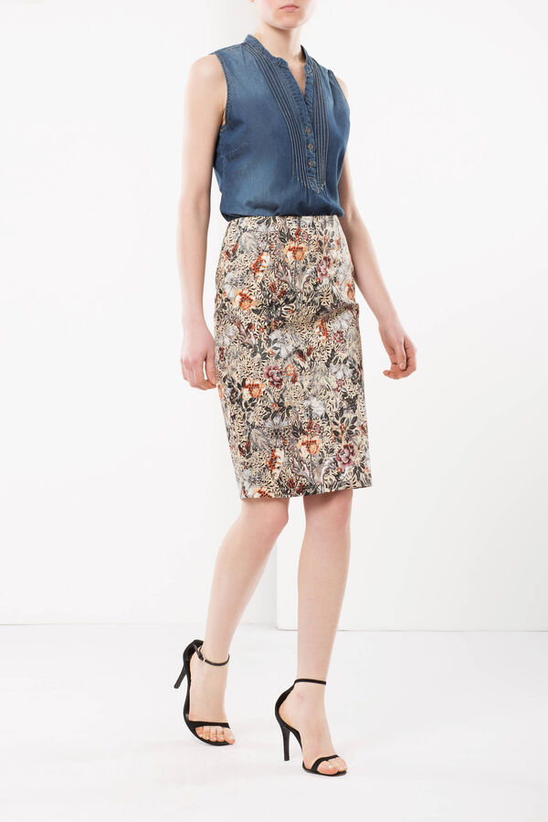 Sheath skirt with floral print | OVS