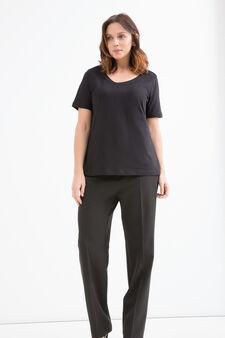 Curvy 100% cotton T-shirt, Black, hi-res