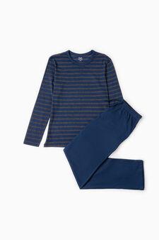 Striped pattern cotton pyjamas, Grey/Blue, hi-res