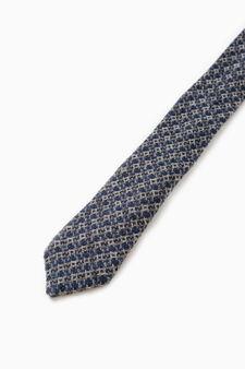 Rumford tie in patterned wool, Blue, hi-res