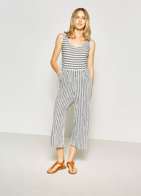 Stretch viscose playsuit with stripes | OVS
