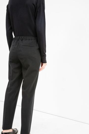 Elegant trousers with crease, Black, hi-res