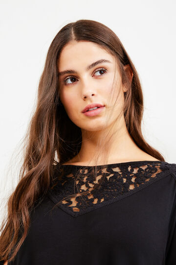 Curvy stretch viscose T-shirt with lace, Black, hi-res