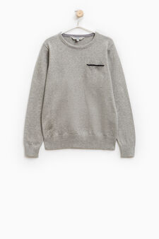 Solid colour 100% cotton knit pullover, Grey Marl, hi-res