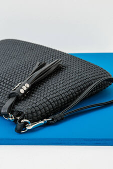 Clutch bag with removable strap, Black, hi-res