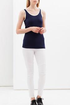 Stretch vest with contrasting trim., Navy Blue, hi-res