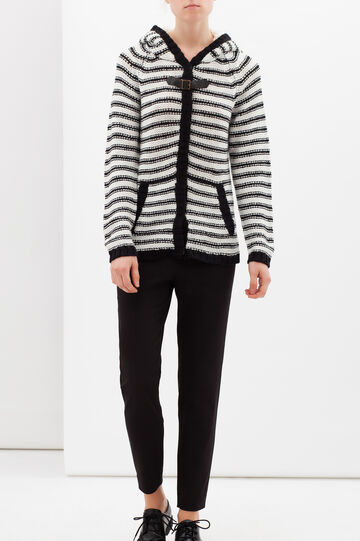 Striped cardigan with hood., White/Black, hi-res