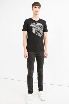 Printed round-neck 100% cotton T-shirt, Black, hi-res