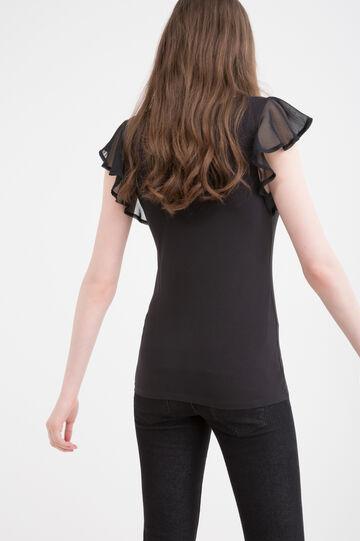 Stretch T-shirt with flounces, Black, hi-res