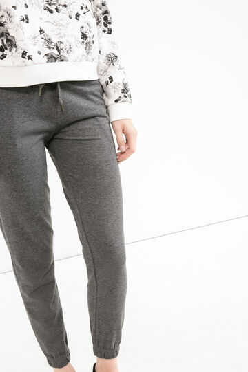 Linen and cotton joggers with drawstring, Black, hi-res