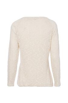 Smart Basic lurex and cotton T-shirt, Cream, hi-res