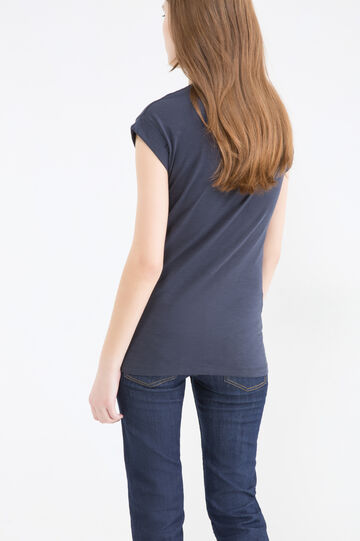 Cap-sleeved cotton T-shirt, Blue, hi-res
