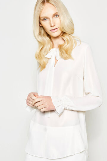 V-neck blouse with ties, Off-white, hi-res