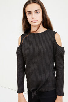 Teen pullover with bare shoulders, Black, hi-res