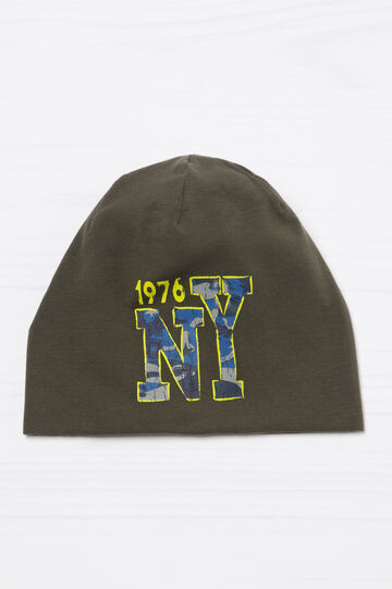Solid colour cotton beanie cap with print, Green, hi-res