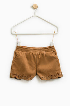 Solid colour suede shorts., Brown, hi-res