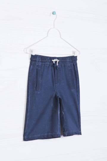 Solid colour cotton shorts, Grey, hi-res