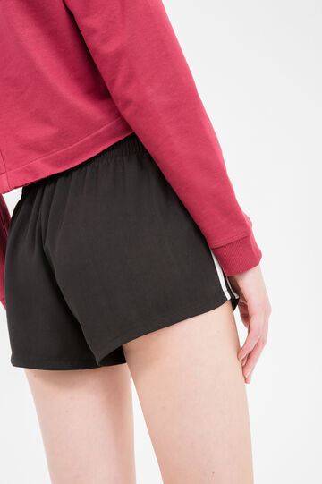 Shorts with elasticated waist and side bands, Black, hi-res