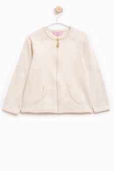 100% cotton sweatshirt with raglan sleeves, Beige, hi-res