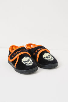 Slippers with embroidery and skull patch, Black, hi-res