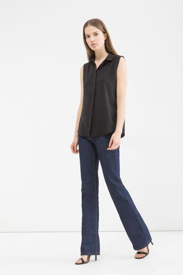 Solid colour sleeveless shirt, Black, hi-res