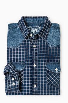 Camicia casual quadri inserti in jeans, Bianco/Blu, hi-res