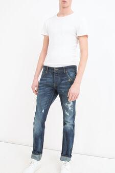 Jeans slim fit con abrasioni, Denim, hi-res