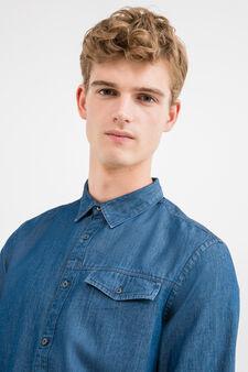 Casual denim shirt with pocket, Dark Blue, hi-res