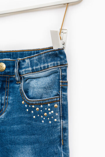 Jeans stretch effetto used con strass, Denim, hi-res