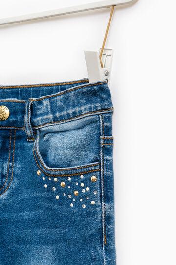 Worn-effect stretch jeans with diamantés, Denim, hi-res