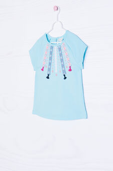 Cotton stretch T-shirt with embroidery, Soft Blue, hi-res
