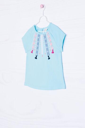 T-shirt cotone stretch con ricami, Blu chiaro, hi-res