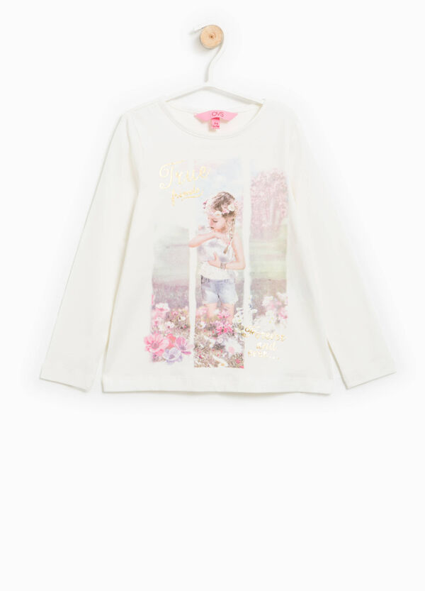 Stretch cotton T-shirt with glitter | OVS