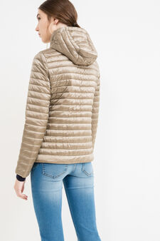 Lightweight down jacket with hood, Beige, hi-res