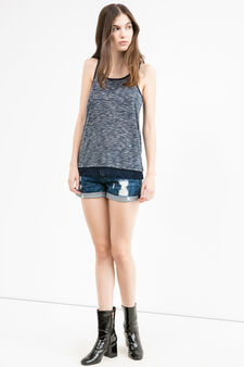 Viscose blend top with lace, Navy Blue, hi-res