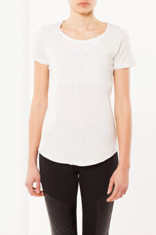 T-shirt with buttons, Light Grey Marl, hi-res