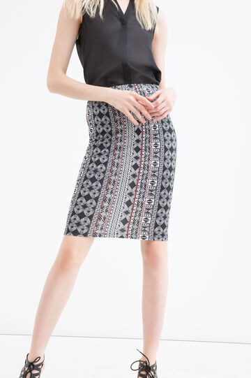 Stretch viscose pencil skirt, Black/Red, hi-res